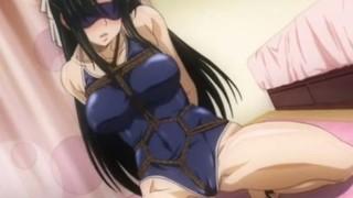 緊縛アニメ マゾ性のある同級生の美少女をスク水麻縄縛り