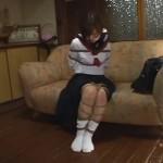 セーラー服緊縛 変態教師に猿轡と麻縄で縛られた女子校生