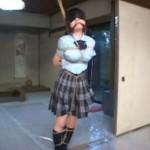 制服女子校生を緊縛バイブ埋め込み浣腸する