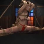 鶴田かな 開脚縛り吊りの巨乳M女