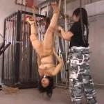 緊縛逆さ吊りでバイブ挿入されたまま放置で喘ぐ真性マゾ女